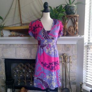 Boden 100% silk key hole back paisley party dress